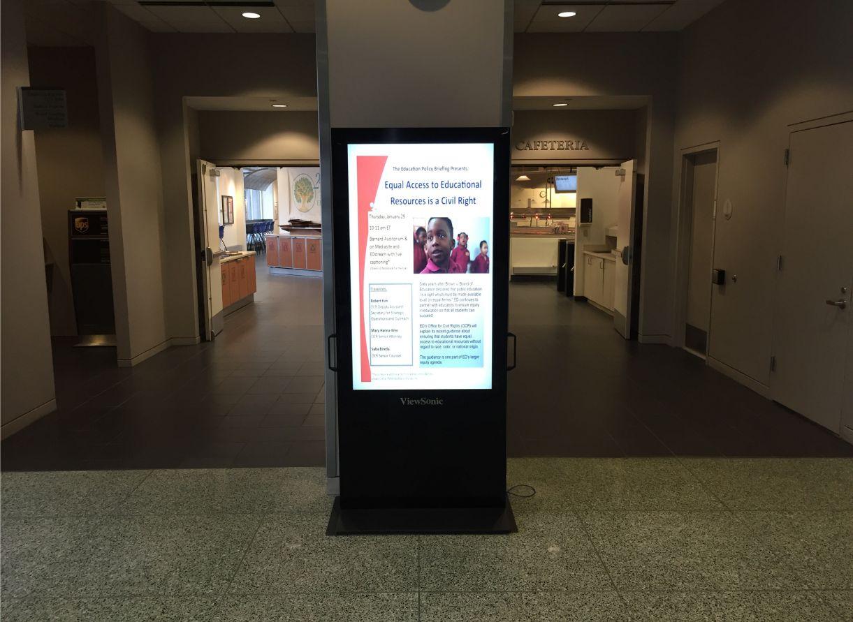education floor standing signage